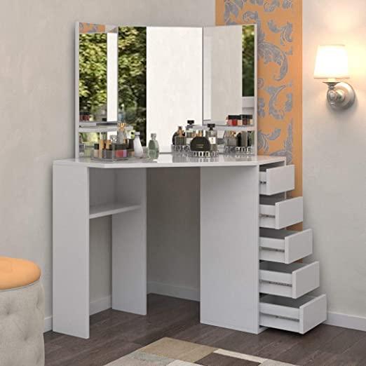 Amazon.com: Victoria Corner Makeup Vanity Table White Makeup Desk .