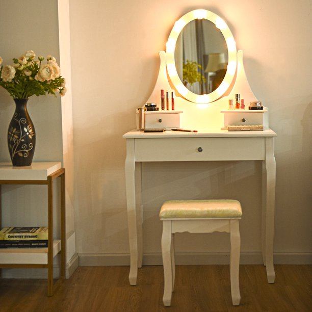Gymax 3 Drawers Bedroom Vanity Makeup Dressing Table Stool Set .