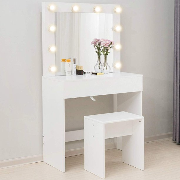 Mecor Makeup Vanity Table w/10 LED Lights Mirror,Vanity Set with .