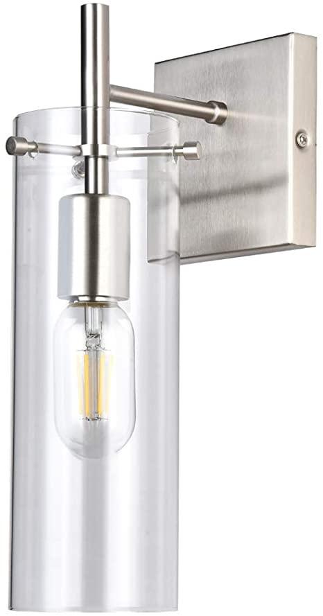 Amazon.com: CASILVON Glass Brushed Nickel Metal Wall Sconce .
