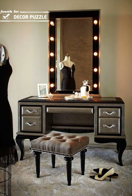 luxury gray classic dressing table with mirror lights Top catalog .