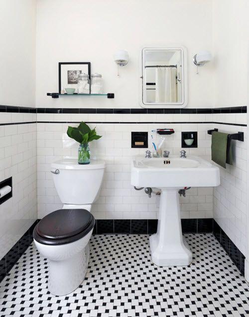 31 retro black white bathroom floor tile ideas and pictures .