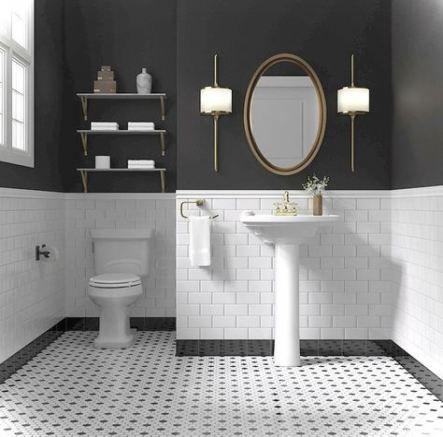 Bath Room Tiles Vintage Black And White 61+ Ideas | White bathroom .