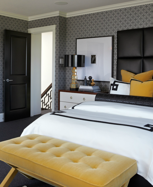 Black White and Yellow Bedroom Ideas - Contemporary - bedroom .