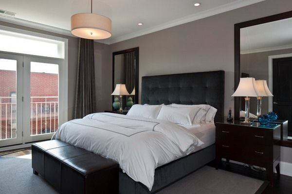 Modern Master Bedroom Ideas with Black Bed Furniture and Leather .