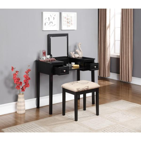 Linon Home Decor Black Bedroom Vanity Table with Butterfly Bench .