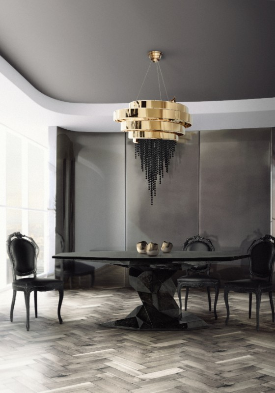 Dark Dining Room Modern Ide