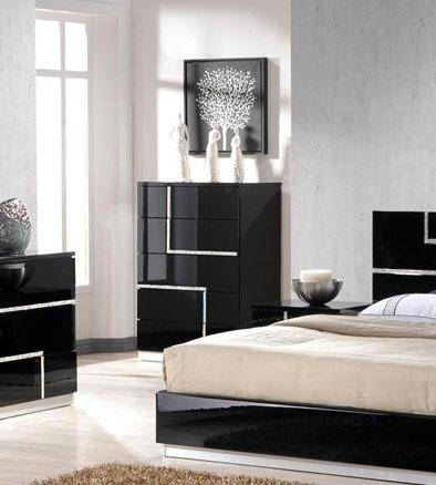 J&M Lucca Luxury Black Lacquer With Crystal Accents King Bedroom .