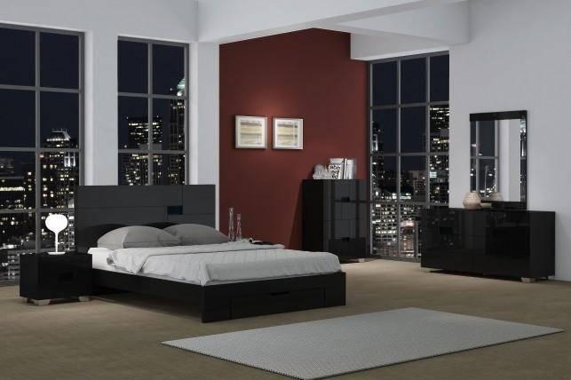 Black High Gloss Finish King Bedroom Set 3Pcs Modern Global United .