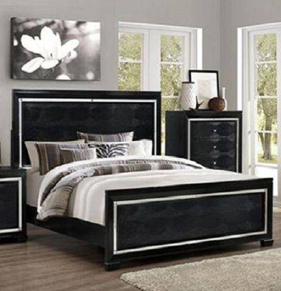 Crown Mark RB7200 Aria Modern Black Finish Solid Wood King Size .
