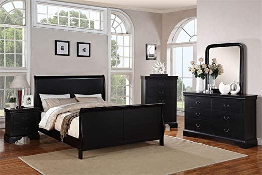 Amazon.com: Poundex Louis Phillipe Black King Size Bedroom Set .