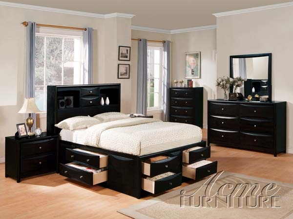 Manhattan 6 Piece Bedroom Set in Black Finish by Acme - 1411