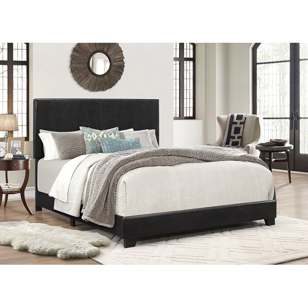Crown Mark Erin Faux Leather Bed, Black, Queen - Walmart.com .