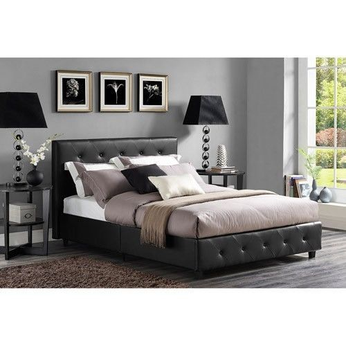 Black Queen Bed Headboard Set Tufted Faux Leather Modern Bedroom .