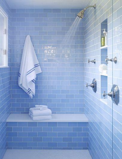 Sky Blue Glass Subway Tile | Blue bathroom tile, Blue bathroom .