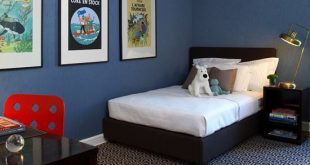 blue room + black furniture | via Cool Little Boys ~ Cityhaüs .