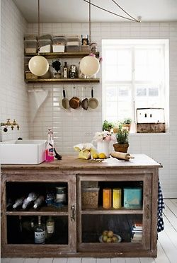 Gorgeous rustic kitchen island with contrasting bright, modern .