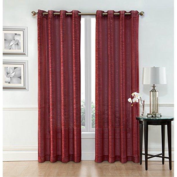 Ruthy's Textile Burgundy Sheer Curtains ? 2 x 54? x 84? Panels .