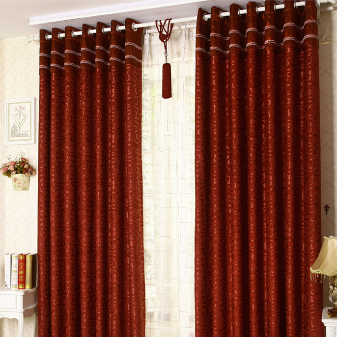 High End Chenille Burgundy Blackout Geometric Curtai