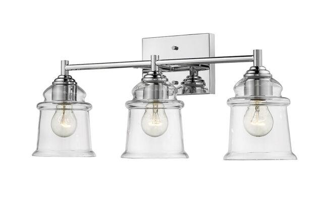 "3-Light Chrome Bathroom Light Fixture 22"" W Mid-Century Modern ."