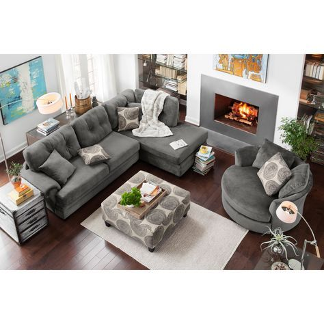Cordelle 2-Piece Right-Facing Chaise Sectional - Gray | Value City .