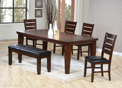 Coaster Oak Casual Dining Table with 4 Side Chairs & Bench .