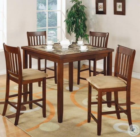 150154 Red Brown 5 Piece Counter Height Dining Room Set from .