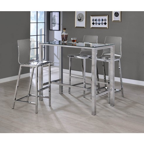 Buy Coaster Recreation Room Bar Height Dining Room Set in Chrome .