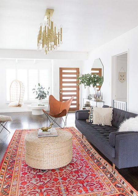 Decorating With Colorful Rugs | Bohemian living room decor, Modern .