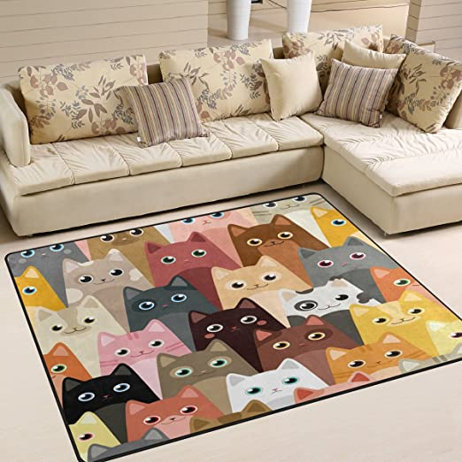 Amazon.com: ALAZA Hipster Colorful Cat Kitten Area Rug Rugs for .