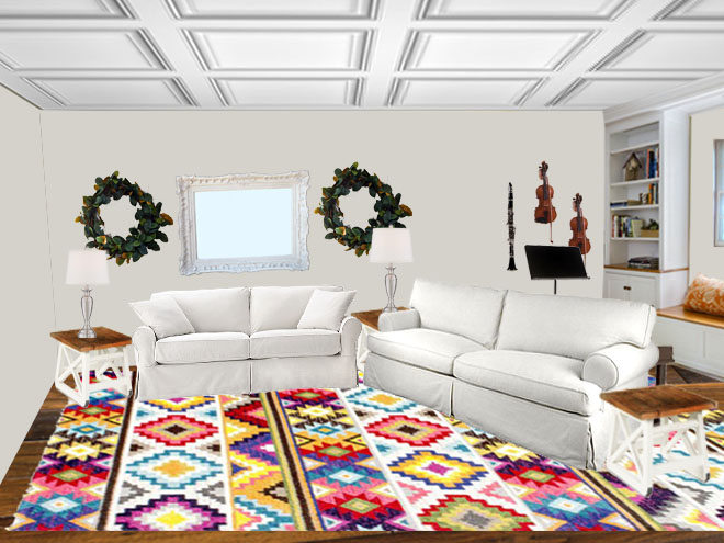 Contemporary Living Using Colored Rugs in a Living Room