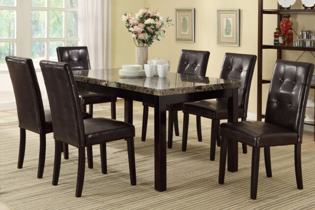 Modern Dining Room 7pc Set Table Chairs Brown Faux Leather Comfort .