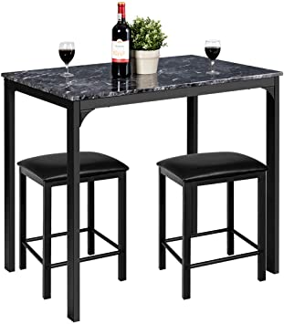 Amazon.com - Giantex 3 Pcs Dining Table and Chairs Set with Faux .