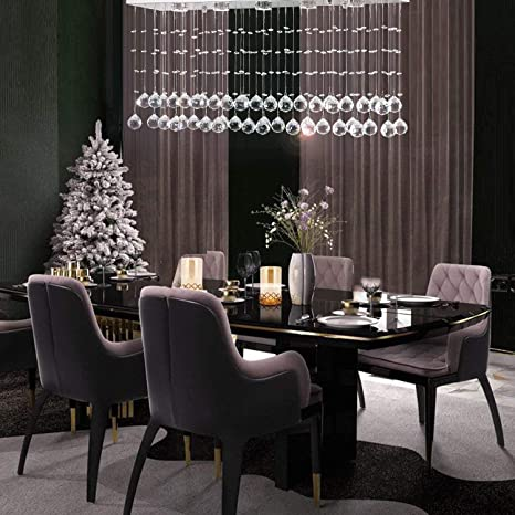 """Moooni L31.5"""" Contemporary Rectangle Crystal Chandelier Modern ."""