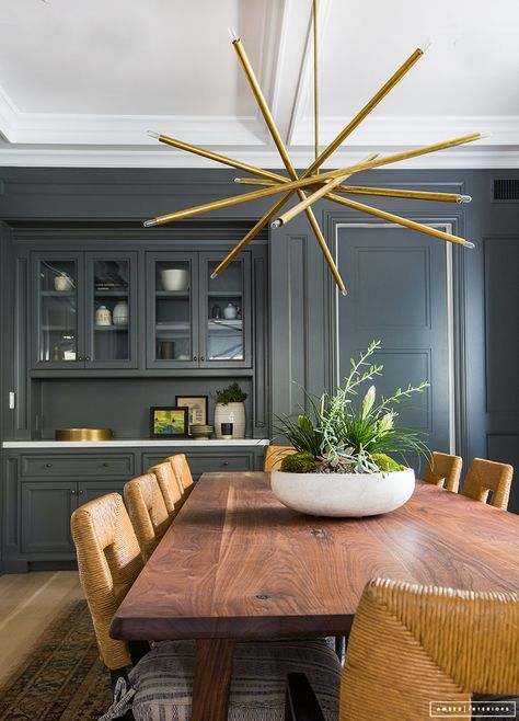 Contemporary eclectic design, textured seating, feature pendant .