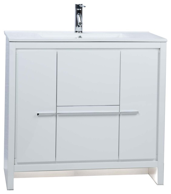 CBI Enna 36 Inch Modern Bathroom Vanity High Gloss White TN-LA900 .