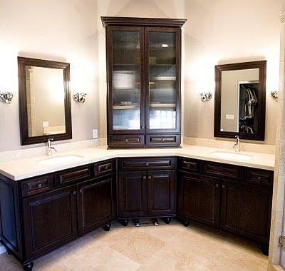 Pin by Ashley Baber on Dream house! | Corner bathroom vanity .