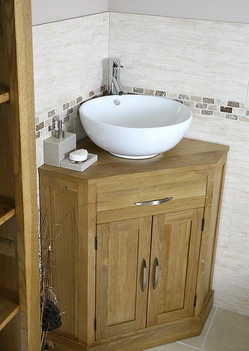 corner bathroom vanity   Oak and Ceramic Corner Bathroom Vanity .