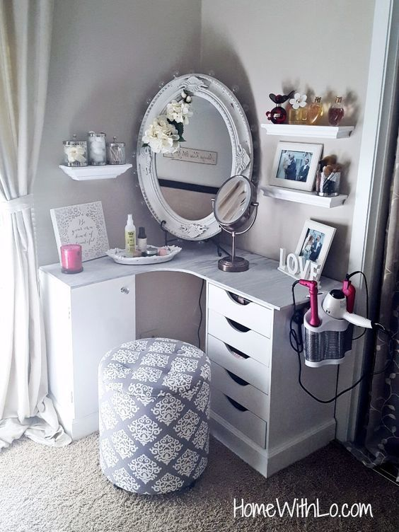 Build a makeup vanity to fit in the corner of your bedroom. | Room .