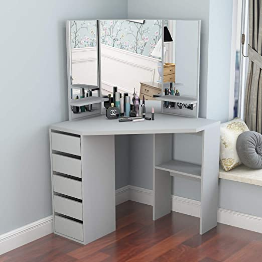Amazon.com: Corner Dressing Table Makeup Desk with Three-Fold .