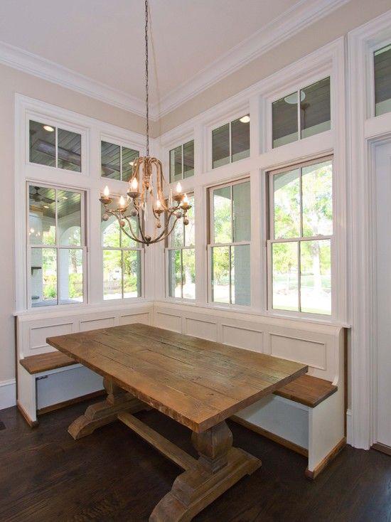 Banquette, love the Farmhouse/Harvest trestle kitchen table .