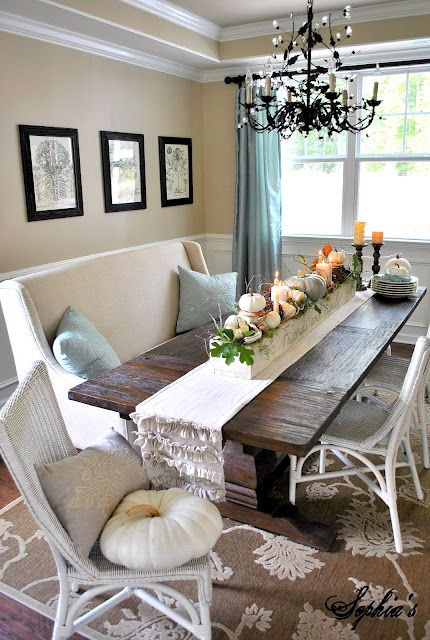 Fall Table Centerpiece | Dining room cozy, Home, Fall kitchen dec