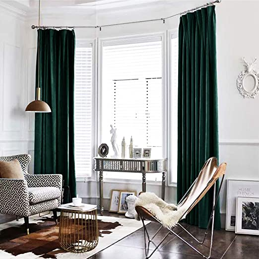 Amazon.com: Green Curtains Velvet Drapes Bedroom Window Curtains .