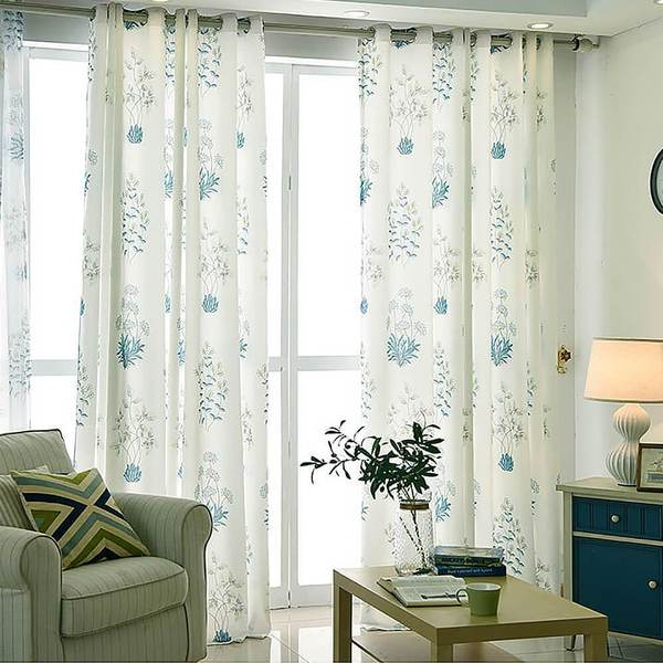 Blue Leaf White Curtains Living Room Ceiling Drapes 2 Panels .