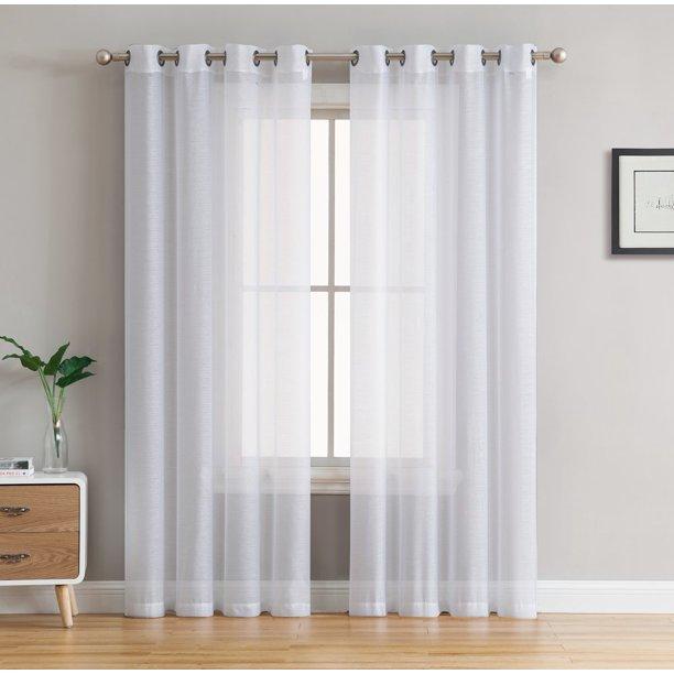 HLC.ME 2 Piece Semi Sheer Voile Window Curtain Drapes Grommet Top .