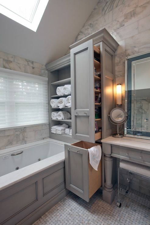 Glazed Gray Cabinets - Transitional - bathroom - A Cook's Room .