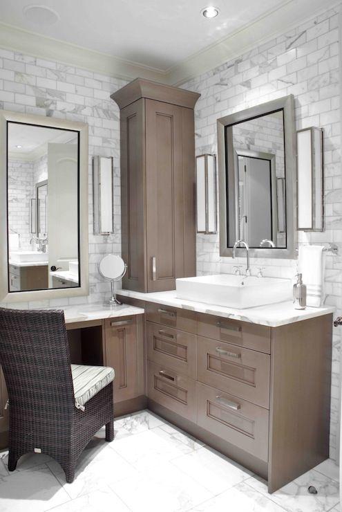 Design Galleria: Custom sink vanity built into corner of bathroom .
