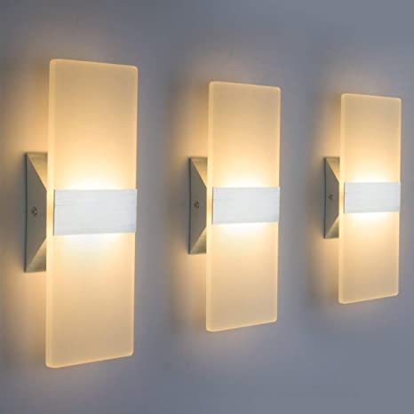 Modern LED Wall Sconce Lighting Fixture Lamps 12W Warm White 2700K .