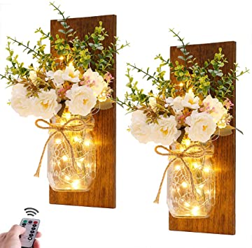 Amazon.com: Rustic Wall Sconces Mason Jar Sconces Handmade Wall .
