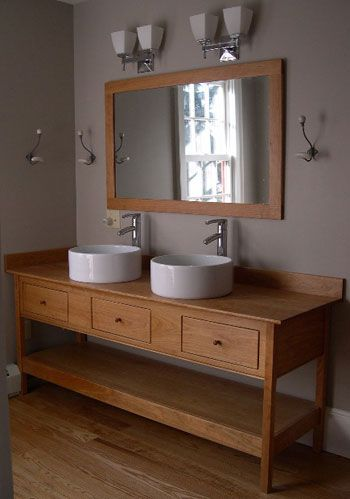 Double Vessel Sinks Open Style Bathroom Vanity with three drawers .